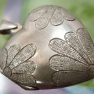 deco PENDANT HEART LOCKET sterling 92 silver 32mm smooth & frosted FRONT & BACK