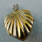 FLUTED HEART LOCKET PENDANT: sterling 925 silver and GOLD-VERMEIL over STERLING