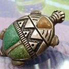 Vintage CAROLYN POLLACK TURQUOISE & OTHERS TURTLE inlay 925 STERLING PENDANT PIN
