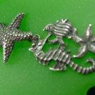 Pendant : sterling 925 silver - SEASHORE - 2 STARFISH - SEAHORSE - FISH