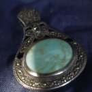 vintage HINGED PENDANT sterling COPPER VEINED TURQUOISE & BRILLIANT MARCASITE