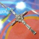"CROSS PENDANT: sterling 925 silver  Multi CZ 1 inch ""DBJ"" Thailand & chain"