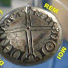 UNUSUAL signed SILVER medal LONG CROSS PENNIES signed PMM MOI DHI REM  : PENDANT
