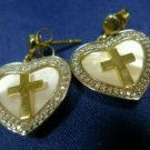 POST EARRINGS GOLDEN VERMEIL sterling 925 silver CROSS & HEART MOTHER OF PEARL