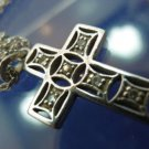 "CROSS PENDANT sterling 925 silver & RHINESTONE w/ 30"" ROPE STERLING CHAIN"