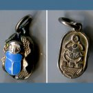 ENAMEL ON SILVER CHARM : BLUE 3D SCARAB