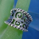 sz 7  RING: sterling 925 silver Concave and Beaded EDGE UNIQUE - CHINA HALLMARK