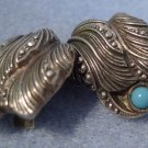 clip EARRINGS: AWESOME vintage vtg 835 SILVER and TURQUOISE