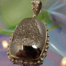 SPECTACULAR BLACK DRUZY HEALING HEMATITE PENDANT : sterling 925 silver