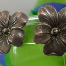 vintage SCREW BACK HIBISCUS FLOWER EARRINGS marked sterling 925 silver