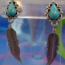 EARRINGS POST signed TURQUOISE & FEATHER TRIBAL SIGNED STERLING