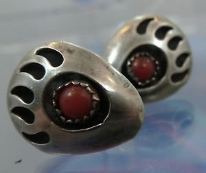 sterling TRIBAL BEAR CLAW Stud EARRINGS w/ CORAL CABOCHON STONES