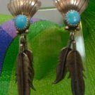 VINTAGE SILVER POST EARRINGS SHELL TOP w/ LONG FEATHERS and TURQUOISE