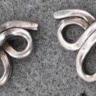 sterling 925 silver TRINITY RIBBON BOW PIERCED POST EARRINGS
