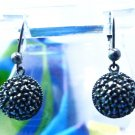 clasped hook EARRINGS vintage sterling JUDITH JACK  1/2 BALL covered MARCASITE