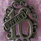 vintage Sterling Filigree Birthday Charm :  Sweet 16 by SMC