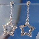 stud EARRINGS: sterling 925 silver w/ Dangling Multi CZ Stars