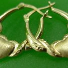 hoop EARRINGS: sterling 925 silver golden FROSTED & SMOOTH signed JCM HEART