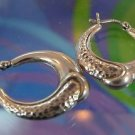vintage sterling 925 silver HOOP EARRINGS - PARTIALLY HAMMERED FOR ACCENTS