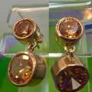 PINKISH color GOLD VERMEIL over STERLING & YELLOW/ORANGE POST EARRINGS