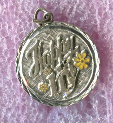 vintage Birthday Charm - Happy 11 - Sterling 925 Silver