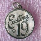 vintage Birthday Charm :  Exciting 19 - Sterling 925 Silver