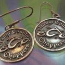 SHEPARDS HOOK EARRINGS : sterling 925 silver ORANGE COUNTY CHOPPERS BIKER
