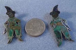 stud EARRINGS: vintage vtg Mexico Mosaic Turquoise & Lapis Scarecrow Jester