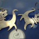 SHEPARDS HOOK EARRINGS w/ WHIMSICAL CATS signed NESTOR ?? MEXICO STERLING