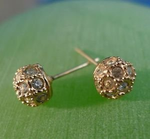 stud EARRINGS: 14K Yellow Gold Ball w/ inlaid Rhinestones