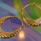 art DECO hoop EARRINGS: sterling 925 gold washed VERMEIL JCM 8 RHINESTONES each
