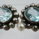 stud EARRINGS: sterling 925 silver Blue Topaz and Pearl signed NF Thailand