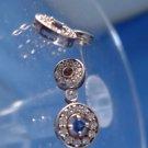 stud EARRINGS: sterling 925 silver Princess Cut Sapphire  Rhinestone