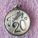 vintage Birthday Charm :  Finally 20 - Sterling 925 Silver