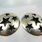 clip EARRINGS: sterling 925 silver TAXCO # TM-145 Mexico 35mm STAR disk