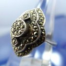 sz 6.5 RING: silver vintage vtg 3 Tiers of Marcasite