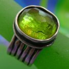 sz7 RING: sterling 925 silver WIDE wide BAND DESIGNED BY SILPADA LIME GREEN