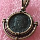ANCIENT ROMAN IMPERIAL CONSTANTINUS PENDANT COPPER COIN IN SILVER BEZEL