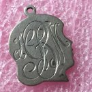 vintage CHARM : SILHOUETTE - FANCY MONOGRAM - BB STERLING - BINDER BROS