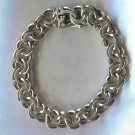 "Chunky Scandinavian Sterling Silver HEAVY 7.5"" Charm Bracelet Marked SAV 925S"