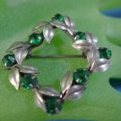 BROOCH / PIN : sterling 925 silver Emerald Green Stones - Flower Wreath