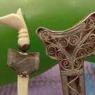 Vintage Brooch Egyptian Cat Sword Handle W/ Silver Filigree Sheath Unknown Marks