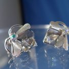 Vintage Screw Back Earrings : Sterling 925 Silver 2 Color Rhinestone Fly  by TK