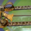 vintage Brooch signed CM (I) Michelson : Gift Box & Bow Sterling 1/20 Gold  Over