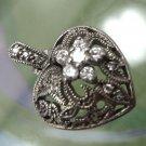 Vintage Filigree Heart Pendant: Sterling 925 Silver w/6 Rhinestone or CZ Flower