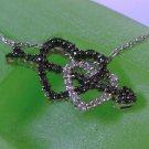 "Black & White Diamonds Double Heart Pendant w/ Arrow + 19"" CHAIN : sterling HN"