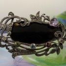 Vintage Fantastic Onyx Marcasite & Gemstone Very Unique Sterling Silver Brooch