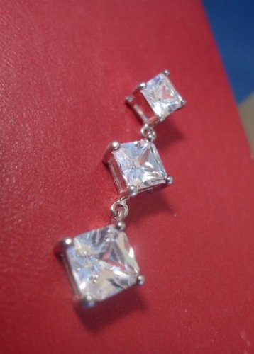 Vintage Pendant signed conjoined JC - 3 Graduating Rhinestone or CZz Sterling W/