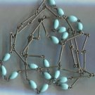Southwestern Necklace : 19 Turquoise Egg Shaped Beads - Silver Bar Chain - 34 In