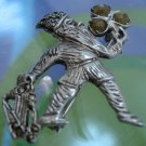 Vintage Leprechaun Brooch Irish Silver w/ Harp & Shamrock Connemara Signed ISJ